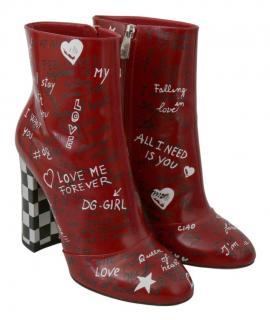 Dolce & Gabbana Grafiti Print Red Leather Ankle Boots