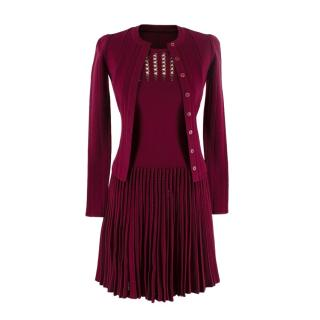 Alaia Burgundy Wool Knitted Dress And Cardigan