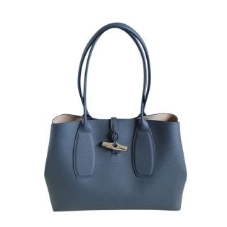 Longchamp Pilot Blue Grained Leather Tote Bag