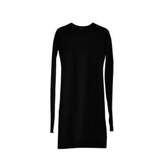 Bottega Veneta black stretch cashmere fitted dress