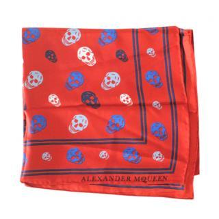 Alexander McQueen red silk skull scarf