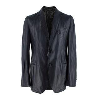 Armani Collezioni Black Nappa Lambskin Tailored Jacket