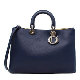 Dior Navy & Yellow Grained Leather Medium Diorissimo Tote Bag