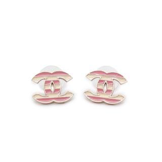 Chanel Enamel Candy Stripe CC Earrings
