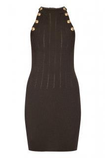 Balmain Black Knit Halterneck Dress