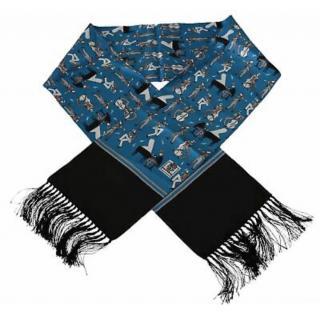 Dolce & Gabbana Blue Musician Print Fringed Scarf