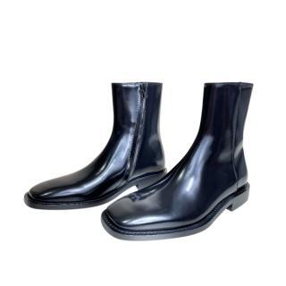 Balenciaga Glossy Square Toe Leather Ankle Boots