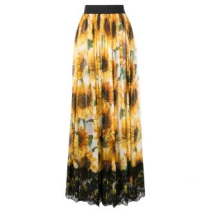 Dolce & Gabbana Silk Sunflower Print Maxi Skirt