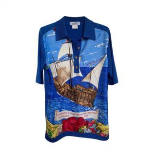 Hermes Vintage Blue Christopher Columbus Polo Shirt