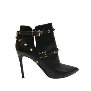 Valentino Garavani Black Leather Rockstud Ankle Boots
