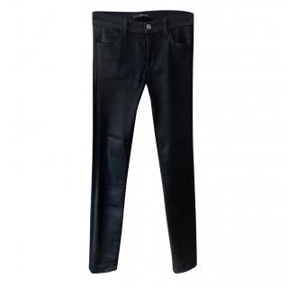 J Brand black coated skinny jeans