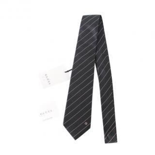 Gucci Black Diagonal Stripe Silk Tie