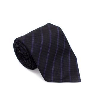 Ermenegildo Zegna Black & Purple Striped Textured Silk Tie