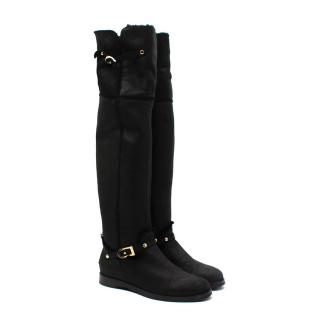 Jimmy Choo Shearling Suede Buckle Detail Over The Knee Boots