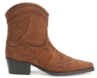 Ganni Embroidered Suede Texas Cowboy Boots