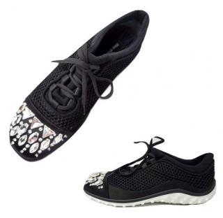 Miu Miu Crystal-embellished satin-trimmed mesh sneakers