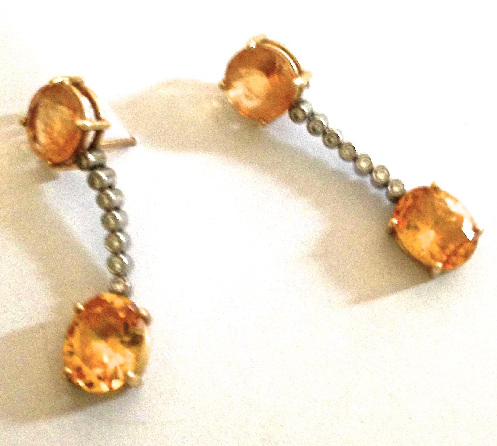 Ian Blower yellow topaz and diamond drop earrings