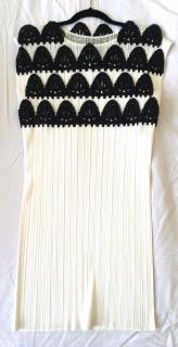 Issey Miyake Pleats Please white and black tunic top