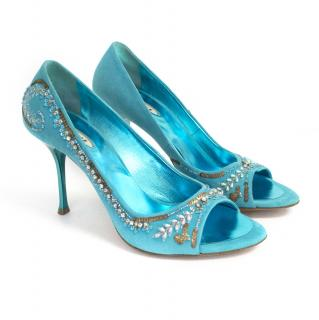 Le Silla bright blue suede peep toe heels