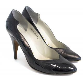 Gina black court shoes