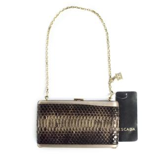Escada snakeskin & silk clutch