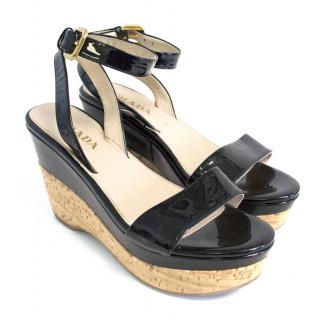 Prada black patent & corkscrew wedges