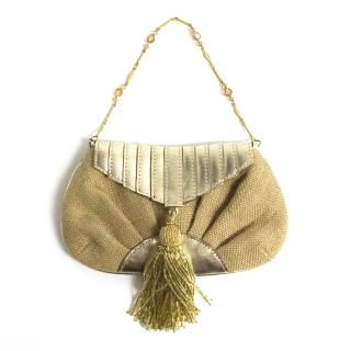 Anya Hindmarch gold evening bag