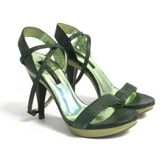 Sergio Rossi green snakeskin heels