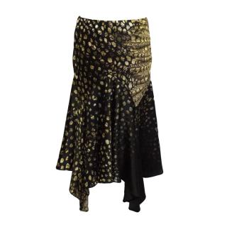 Roberto Cavalli black & yellow print silk skirt