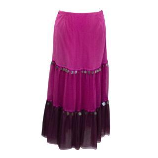 Matthew Williamson pink tiered skirt