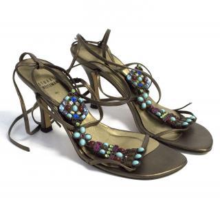 Stuart Weitzman bronze jewelled sandals