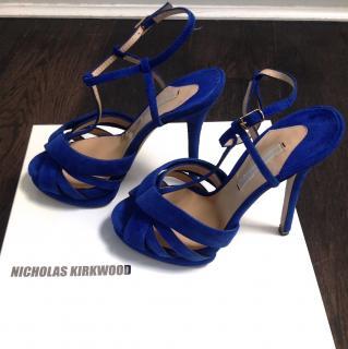 Nicholas Kirkwood blue suede sandals new