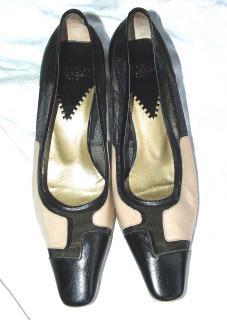 Charles Jordan two-tone mid heel courts, 36.5