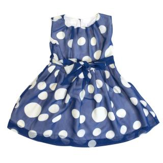 Rachel Riley blue and white polka dot dress