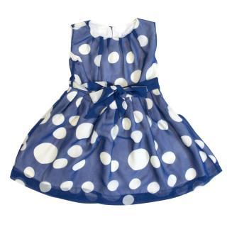 Rachel Riley blue and white polka dot dress