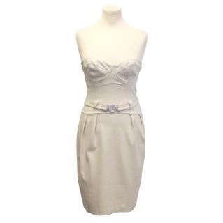 Christina Ferrari cream strapless dress