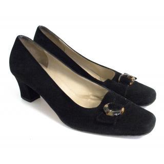 Salvatore Ferragamo black suede shoes