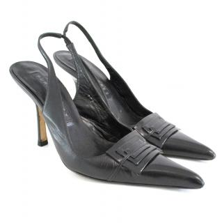 Pura Lopez black slingbacks