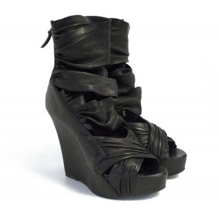Givenchy black strappy wedge sandals