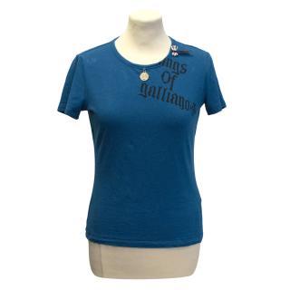 John Galliano turquoise logo t-shirt