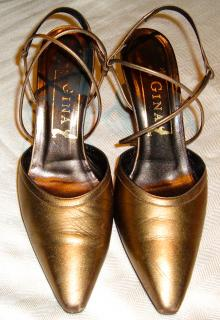 Gina Gold leather strappy shoes, size Eur 38 / UK 5