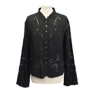 Jaeger black lace shirt