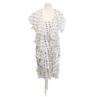 Emanuel Ungaro polka dot dress and scarf