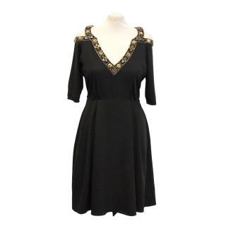 Temperley London black silk embellished dress