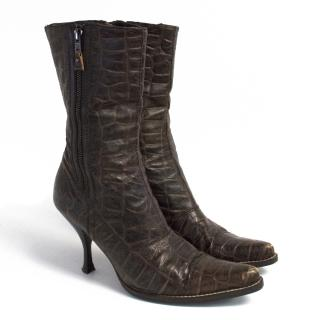 Miu Miu brown crocodile boots