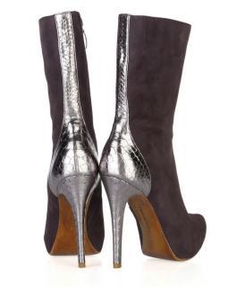 Alexandre Birman Suede/Metallic Python Calf Boots