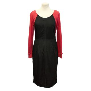 Maison Martin Margiela black dress with red sleeves