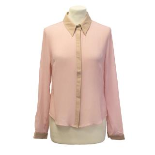 Finders Keepers pink & beige chiffon blouse