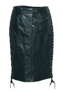 Alexander McQueen Black Leather Skirt