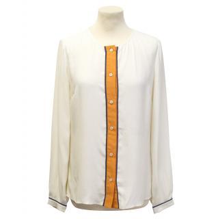 Harlyn silk beige and orange shirt